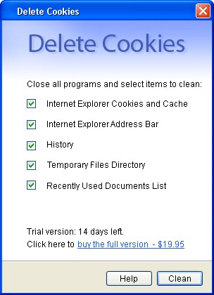 Delete Cookies 1.2 screenshot