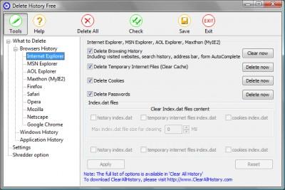 Delete History Free 2.3 screenshot