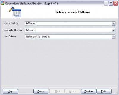 Dependent Listboxes Builder for CodeCharge Studio 1.0 screenshot