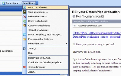 DetachPipe Free for Outlook 6.0.13.1 screenshot