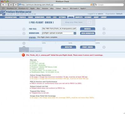 Dev Zero G PrintSure free online PDF pre-flight ch 5.1 screenshot