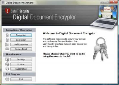 Digital Document Encryptor 2011 screenshot