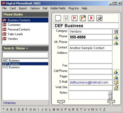 Digital PhoneBook 2003 screenshot