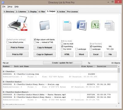Directory List & Print Pro 3.32 screenshot