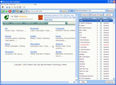 Directory Site Submitter 1.2 screenshot