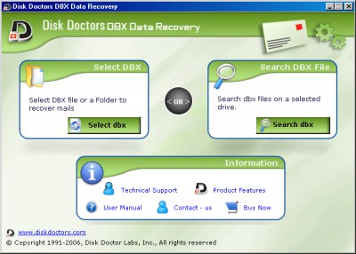 Disk Doctors DBX Data Recovery 1.0.2 screenshot