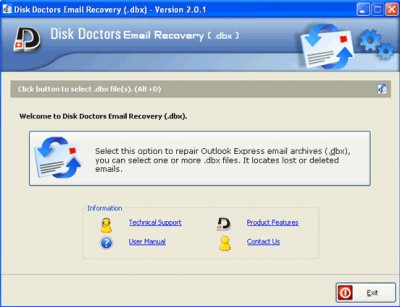 Disk Doctors Email Recovery (DBX) 1.0.2 screenshot