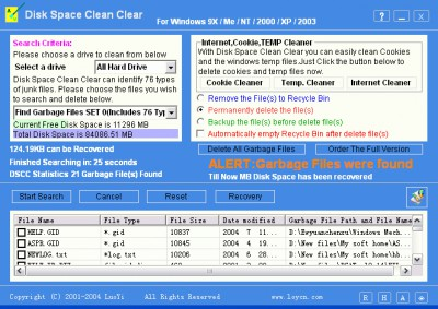 Disk Space Clean Clear 8.20 screenshot