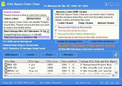 Disk Space Clean Clear 8.20 screenshot