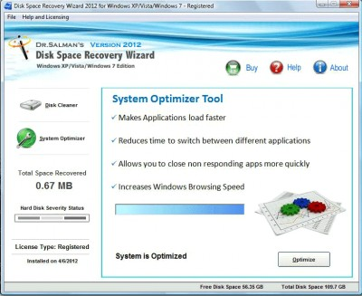 Disk Space Recovery Wizard 2012 screenshot
