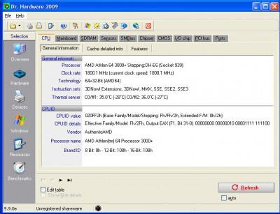Dr. Hardware 2009 9.9.5e screenshot