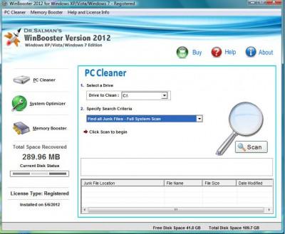Dr.Salman's WinBooster 2013 screenshot