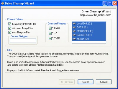 Drive Cleanup Wizard 1.0 screenshot