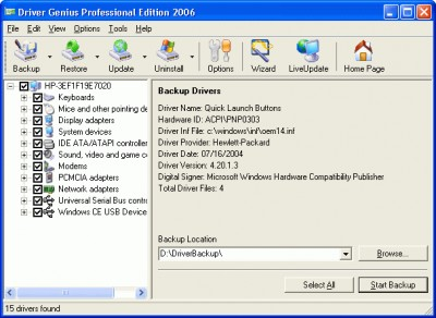 Driver Genius Professional Edition 2005 6.0.1882 screenshot