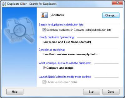Duplicate Killer for Microsoft Outlook 3.47 screenshot