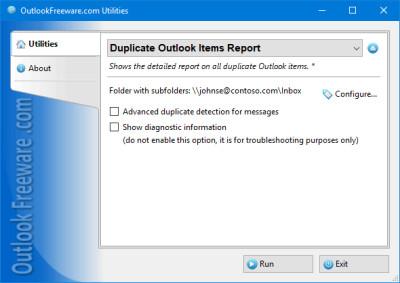 Duplicate Outlook Items Report 4.13 screenshot