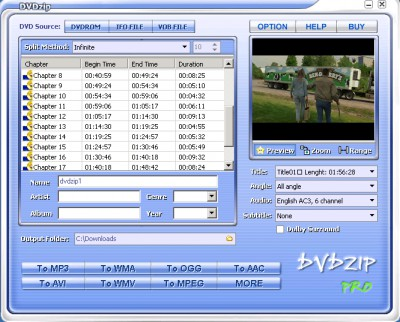 DVDZip Lite 4.0 screenshot
