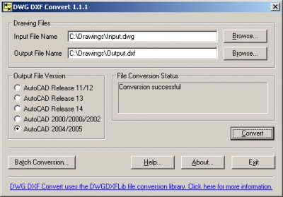 DWG DXF Convert 1.0 screenshot