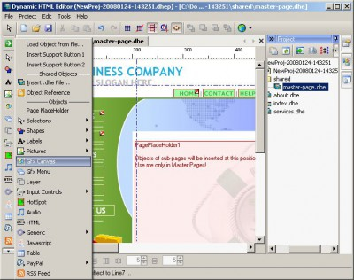 Dynamic HTML Editor 6.8 screenshot