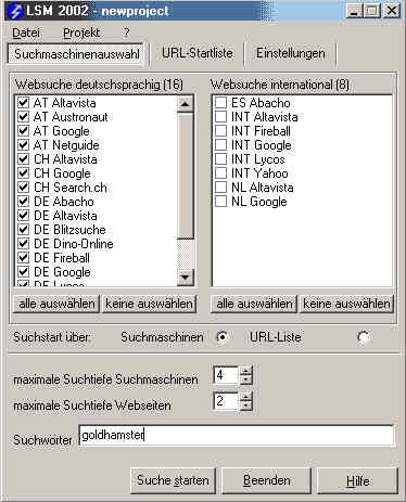 E-Mail Suchmaschine LSM 2002 2.0 screenshot