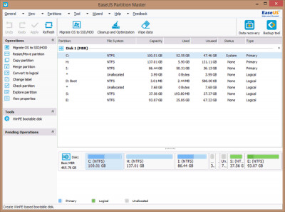 EaseUS Partition Master Free Edition 15.0 screenshot