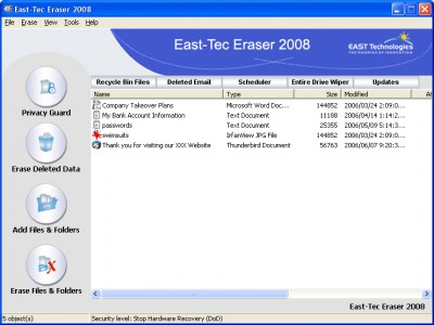 East-Tec Eraser 2007 8.5 screenshot