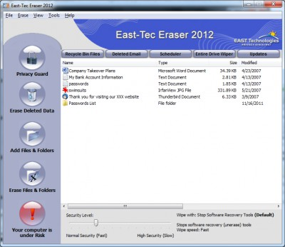 east-tec Eraser 12.9.5 screenshot