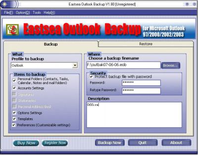 Eastsea Outlook Backup 2.10 screenshot