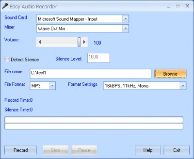 Easy Audio Recorder 3.2.706 screenshot