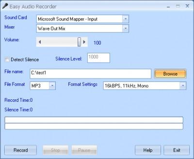 Easy Audio Recorder 3.2.706 screenshot
