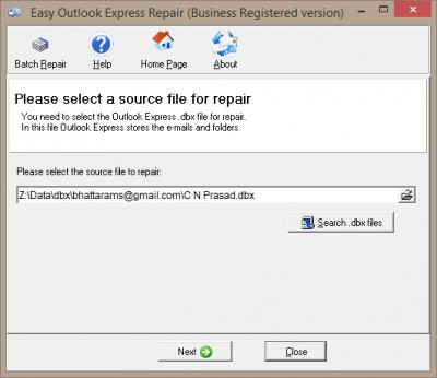 Easy Outlook Express Repair 1.7.27 screenshot