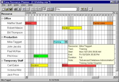 Easy Resource Planner 2.00 screenshot