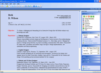 Easy Resume Creator Pro 4.23.38 screenshot
