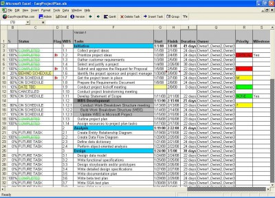 EasyProjectPlan Excel Gantt Chart 10.5 screenshot