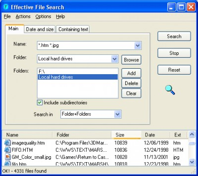 Effective File Search 6.8.1 screenshot