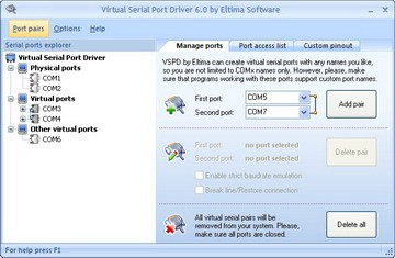 Eltima Virtual Serial Port Driver 6.9 screenshot