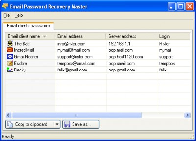 Email Password Recovery Master 2.0 screenshot