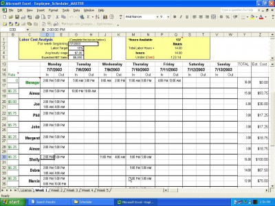 Employee Scheduler for Excel and OpenOff 2.1 screenshot
