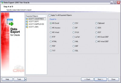 EMS Data Export 2007 for Oracle 3.0 screenshot