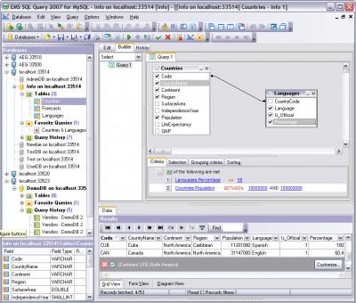 EMS SQL Query 2007 for MySQL 3.0 screenshot