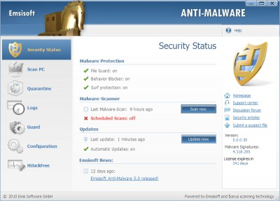 Emsisoft Anti-Malware 2019.7.0.9 screenshot