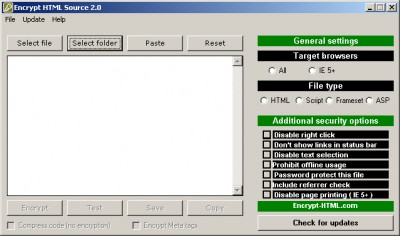 Encrypt HTML source 2.05 screenshot