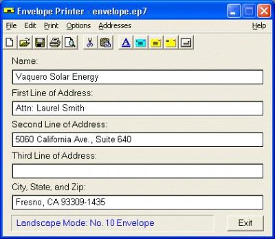 Envelope Printer 7.0 screenshot