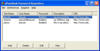 ePassBook Password Repository 1.6 screenshot