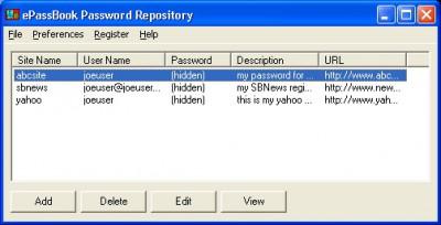 ePassBook Password Repository 1.6 screenshot