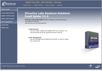EPractize Labs Email Spider Standard Edition 1.0 screenshot