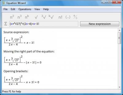 Equation Wizard 1.21 screenshot