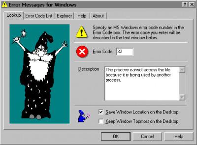 Error Messages for Windows 3.0 screenshot