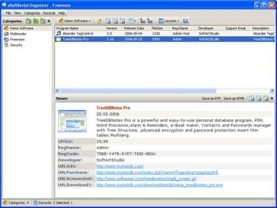 eSoftSerial Organizer 1.06 screenshot