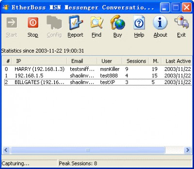 EtherBoss MSN Monitor, MSN Sniffer 1.2 screenshot
